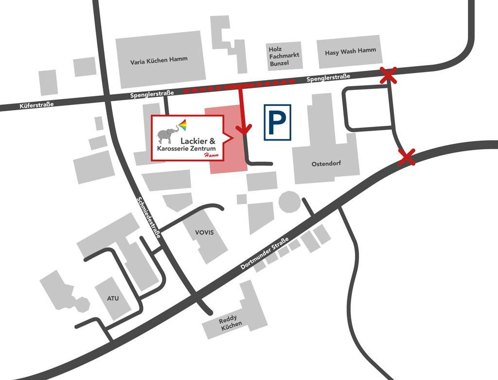 Anfahrtsbeschreibung zum Lackier- und Karosseriezentrum Hamm.